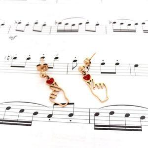 Fashion Jewelry Rose Color Hand Stud Earrings Kpop